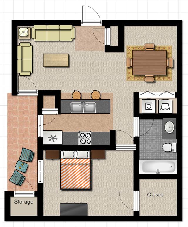 brickstone apartments one bedroom floor plan